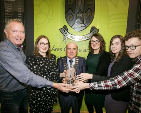 Mayor of Clare Tom McNamara holds the Betty Devanny award with members of the late Betty Devannys family L-R Sean, Sinead, Orla, Niamh and Sean Og.Pic Arthur Ellis