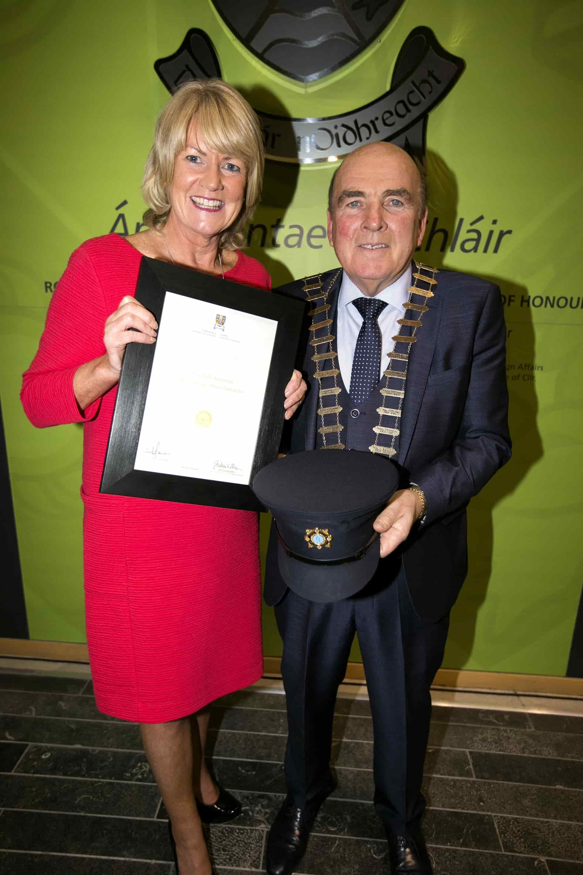 Mayor of Clare Tom McNamara presents the Pride of Place award to Therese Flannery, Juvenile Liason Officer.Pic Arthur Ellis