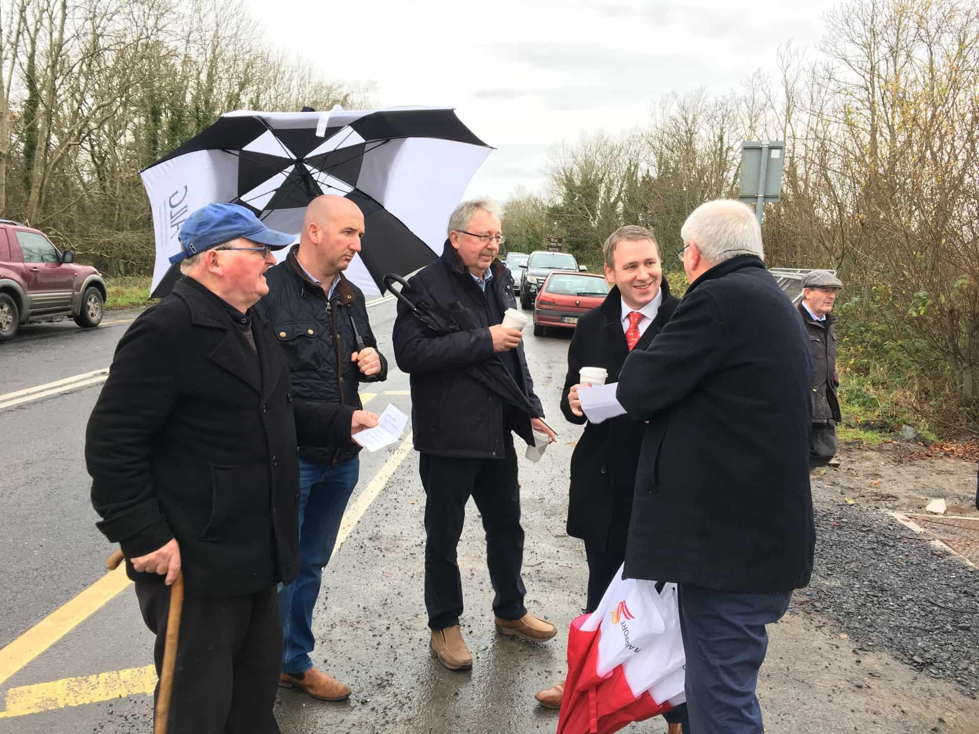 TD Joe Carey and Mayor of Ennis Paul Murphy at Latoon Bridge