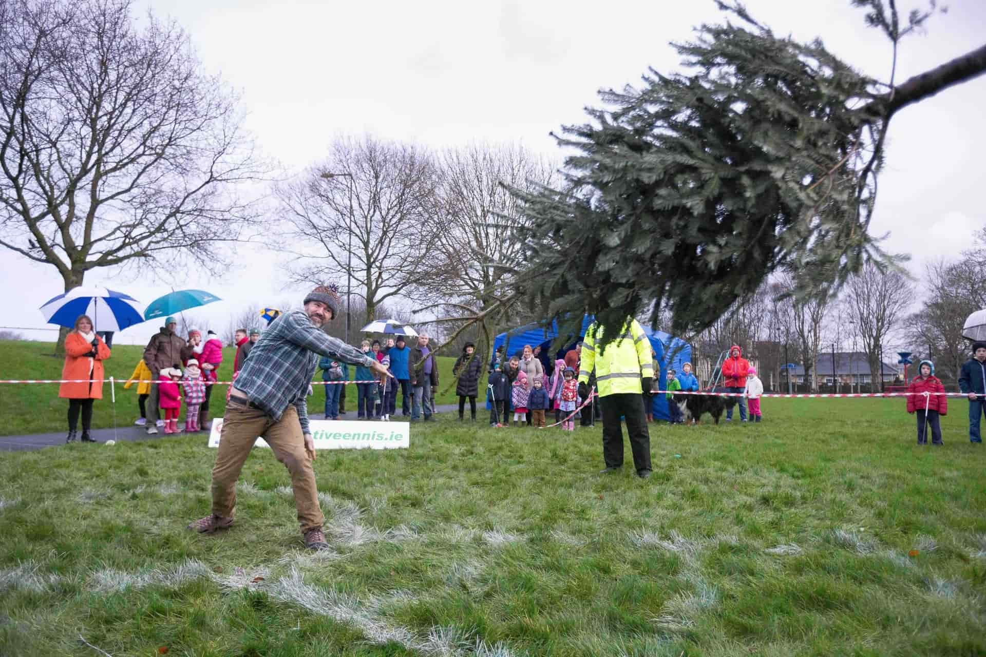 Garry O'Growney, Kilfenora competing in the Irish Christmas Tree Throwing Championships at Tim Smyth park, Ennis. Photograph by Eamon Ward