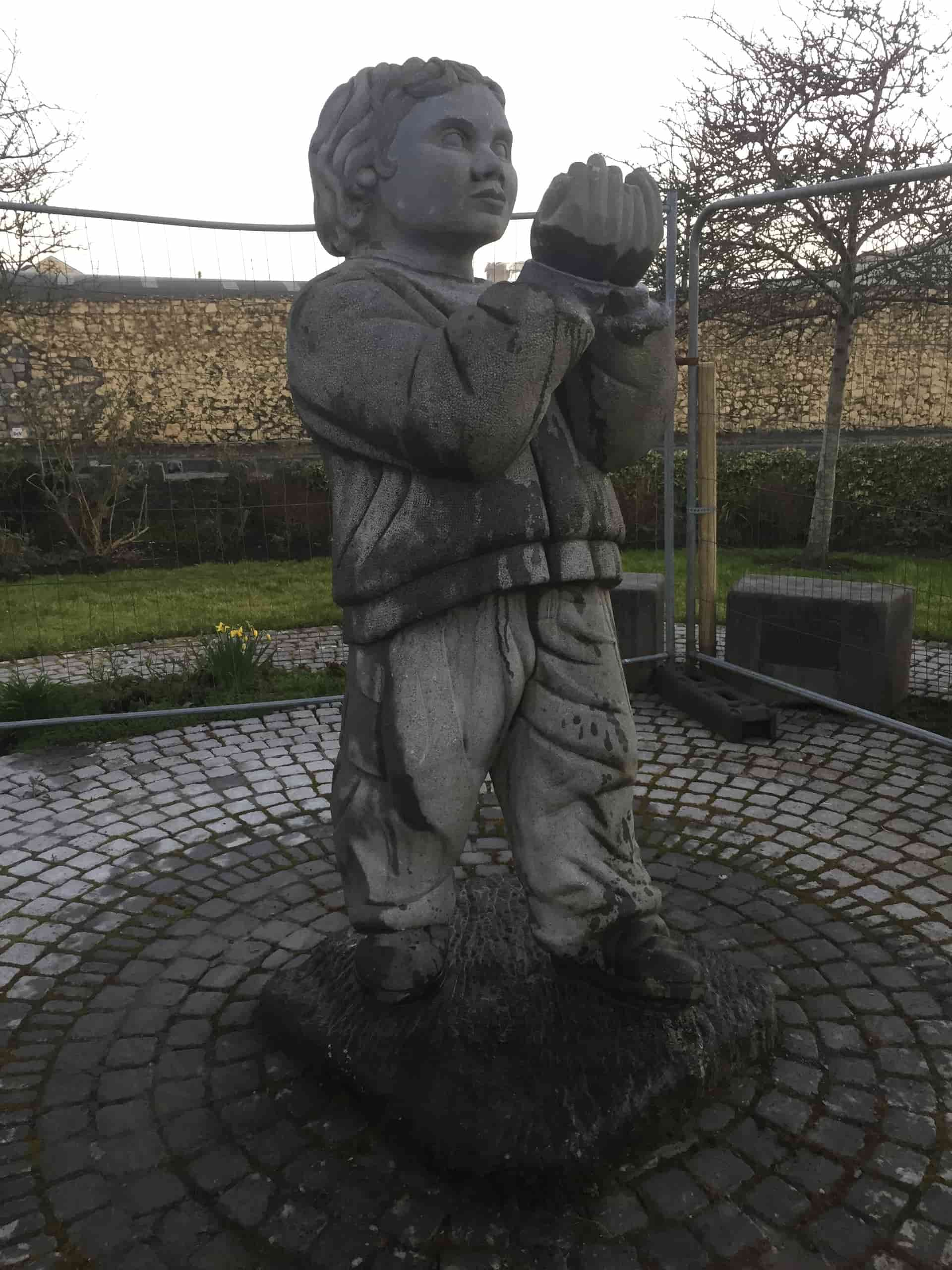 Repaired Garden of Remembrance statue. Photo: Barry Wrafter