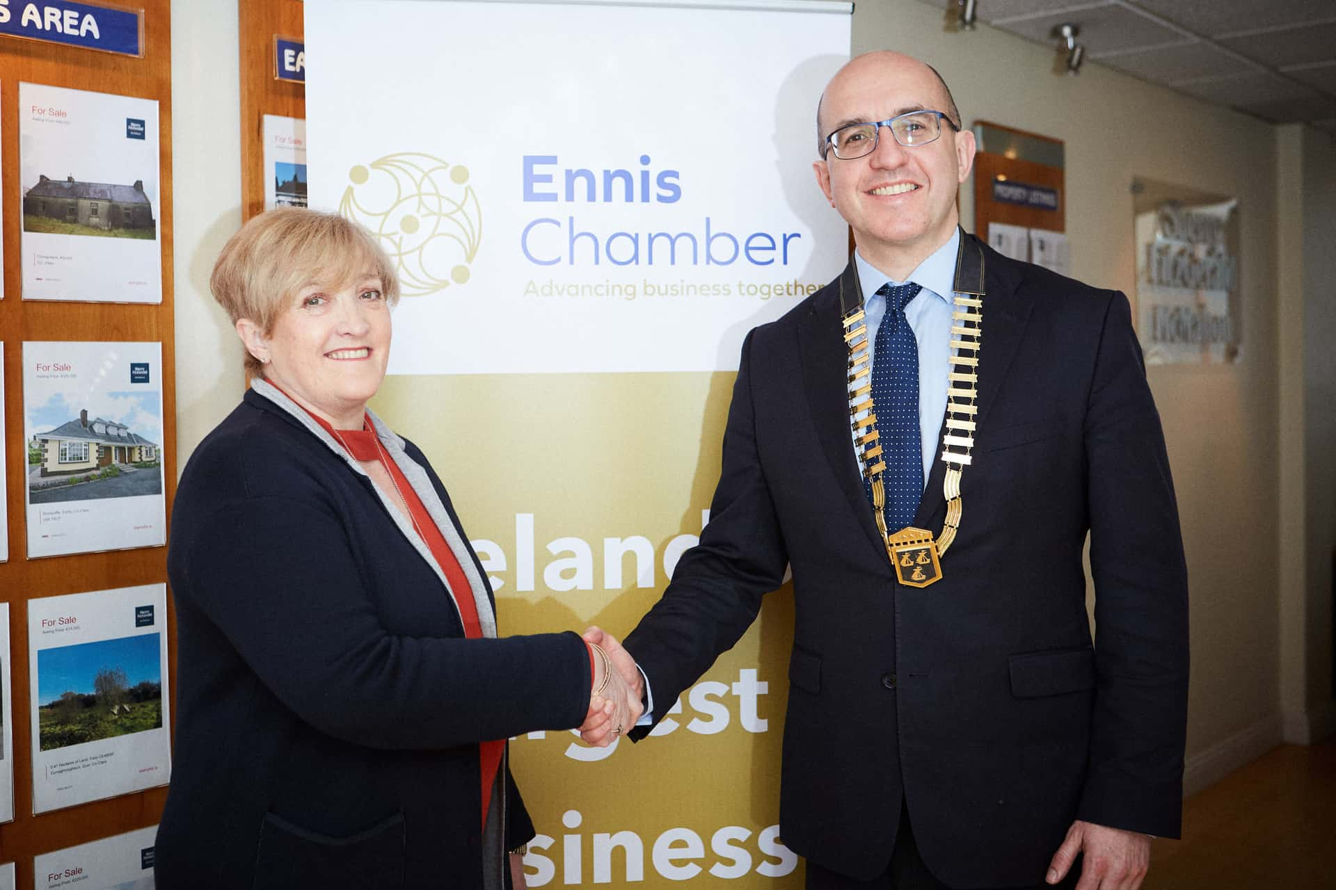 Ennis Chamber President Diarmuid McMahon MD Sherry FitzGerald McMahon and Vice President Gwen Culligan