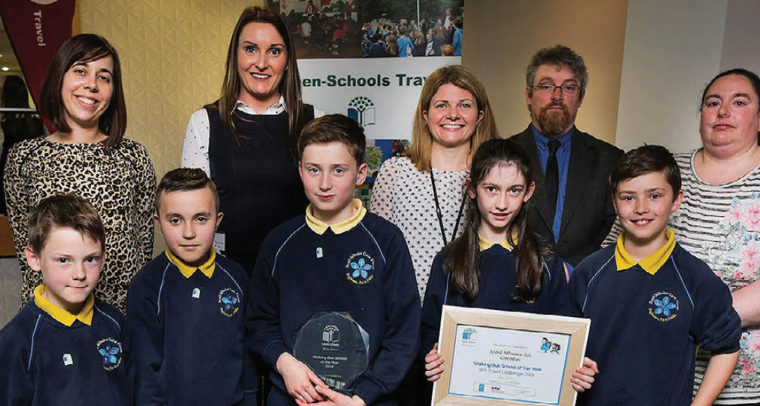 Back L-R: Denise Woulfe, Miriam Macnamara (Green School Co-Ordinators), RSA Representative, Michael John O'Mahony (An Taisce Green Schools) Siobhan Bray (Walking Bus Leader); Front L-R: Darragh Moran, Jake White, Darragh McGroary, Sophie Minogue, Charlie McCarthy (Green School Committee)