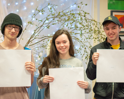 Sebastian Lievre, Grace Copley and Marco Messori receiving their Leaving Cert Results. Photo by Julie Tillett