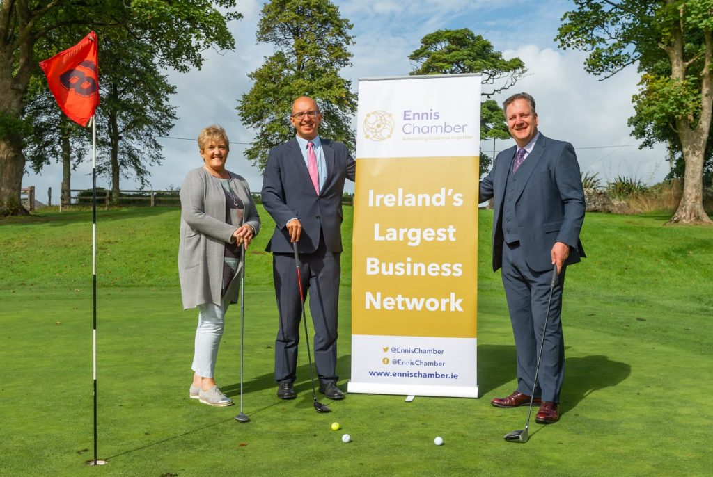 Gwen Culligan of County Boutique and Chamber Vice President with Ennis Chamber President Diarmuid McMahon and Seán Lally of Hotel Woodstock at the launch of the Ennis Chamber Golf Classic