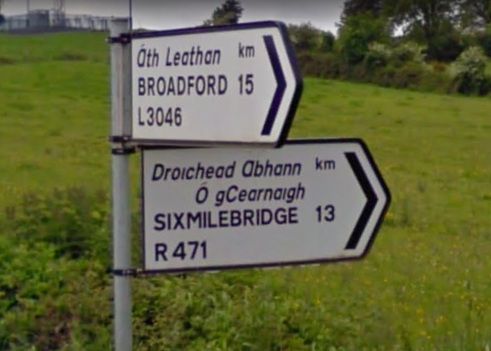 Sixmilebridge sign